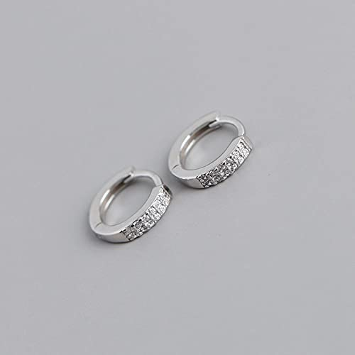 Hoops Earrings For Women,Classic Fashion Zircon 925 Silver Hoop Earrings Hypoallergenic Lightweight Ring Circle Jewelry Earrings For Women Girls Party Wedding Valentine'S Day Gift,Silver Color