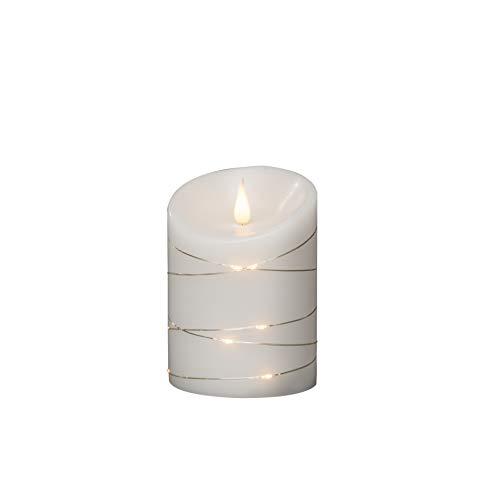 Konstsmide Große Kerzen / 3D Living betriebene flammenlose Echtwachs/Drahtlichter / 4 oder 8 Stunden Timerfunktion / 14 x 10 cm/Warme LED/Weiß Batterie Kerzen