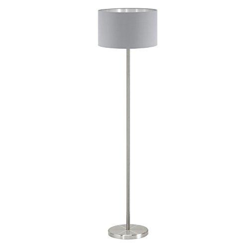 EGLO Stehlampe Maserlo, 1 flammige Textil Stehleuchte, Standleuchte aus Stahl und Stoff, Farbe: Nickel matt, grau, silber, Fassung: E27, inkl. Trittschalter