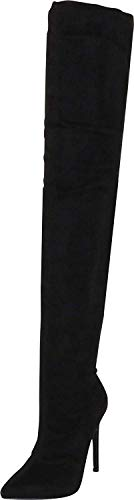 Liliana DB54 Women Suede Pointy Toe Thigh High Single Sole Stiletto Boot,Black,10