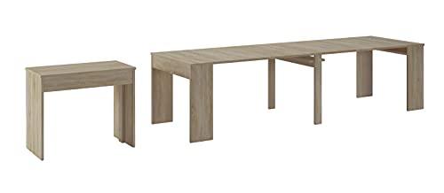 Skraut Home - Table Console Extensible avec rallonges, jusqu'à 300 cm, Salle à Manger et séjour, Couleur chêne Clair brossé. Jusqu´à 14 Personnes