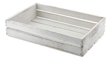 Genware TR225W houten kratten, 35 cm x 23 cm x 8 cm, wit afwasbaar