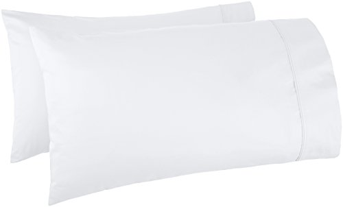 AmazonBasics 400 Thread Count Pillow Cases – King, Set of 2, White