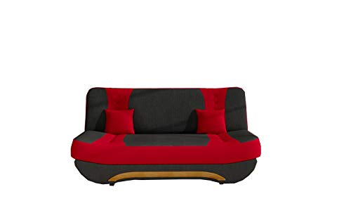 MOEBLO Sofa mit Schlaffunktion und Bettkasten, Couch für Wohnzimmer, Schlafsofa Federkern Sofagarnitur Polstersofa Wohnlandschaft mit Bettfunktion - Feba (Schwarz + Rot (Alova 04+ Alowa 46))