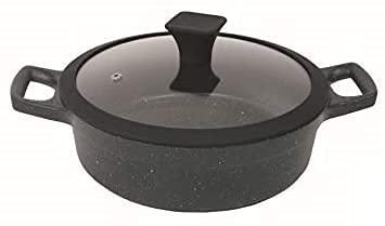 Cacerola volcánica de fundición a presión, 20 cm, piedra