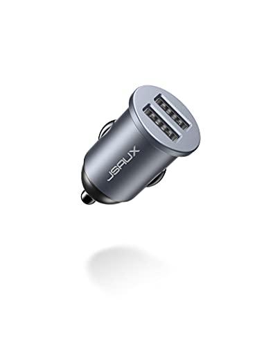 JSAUX Caricabatterie Auto USB [ 24W/4.8A ] 2 Porte,Caricatore Auto USB, Caricabatteria Auto USB Universale Carica Batteria Compatibile con 12/11/X/8, Samsung S20/S10/S9/S8, Huawei - Grigio