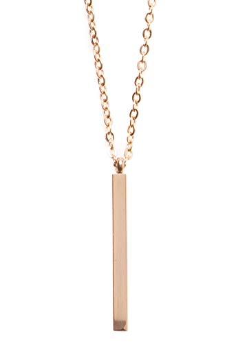 Happiness Boutique Collana con Pendente Barretta in Oro Rosa | Collana Lunga Minimal Bijoux in Acciaio Inossidabile