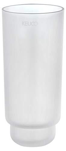 KEUCO Original Ersatz-Glas, Echt-Kristallglas weiß mattiert für Toilettenbürsten-Garnitur Edition 11, 19 cm hoch, Glas-Behälter für WC-Bürste