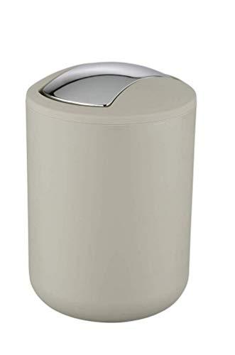 WENKO Schwingdeckeleimer Brasil Taupe S - Kosmetikeimer, absolut bruchsicher Fassungsvermögen: 2 l, Kunststoff (TPE), 14 x 21 x 14 cm, Taupe