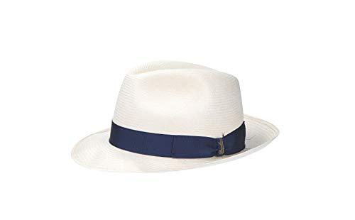 [ボルサリーノ] ハット 140338 パナマ ファイン ミディアムブリム ホワイト×ロイヤルブルー メンズ 58
