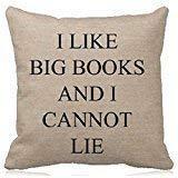 Jacen shop Cotton Linen Square Dekorative Dekokissen Fall Kissenbezug Ich mag große Bücher und ich...