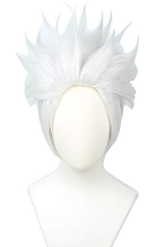 Linfairy Short Layered Cosplay Wig Halloween Costume Silvery...