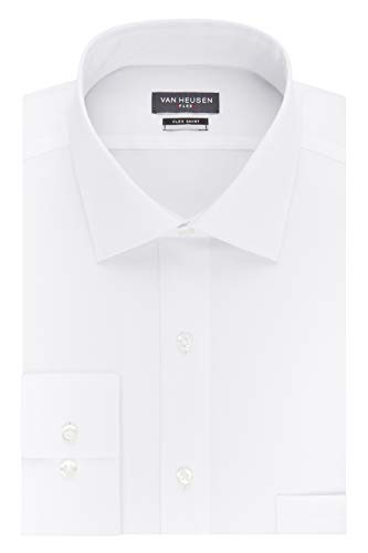 Van Heusen Men's FIT Dress Shirt Flex Collar Stretch Solid (Big and Tall), White, 19' Neck 34'-35' Sleeve (3X-Large)