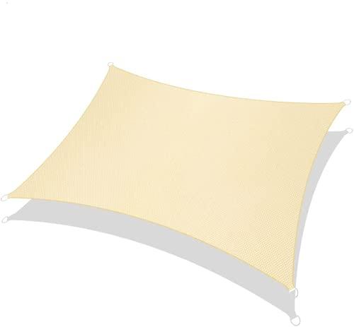 RATEL Toldo Vela de Sombra Rectángulo Arena 2 × 3 m, protección 95% UV y Transpirable Impermeable, para Jardín, Patio, Exteriores, Pergola Decking