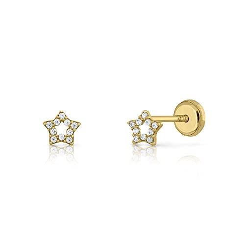 Pendientes Oro/Niña/Mujer. Estrella con circones. Cierre de seguridad a rosca. Medida 5 mm (1-5545)