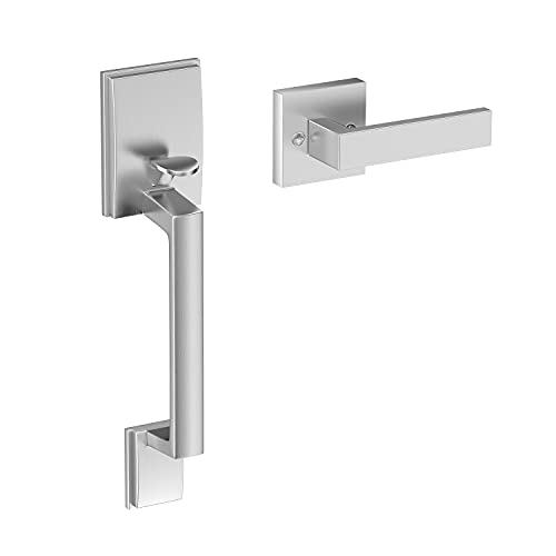 Front Entry Handle, Single Cylinder Lower Handleset Door Lever Satin Nickel Silver for Exterior/Interior Compatible with Left and Right Side Door