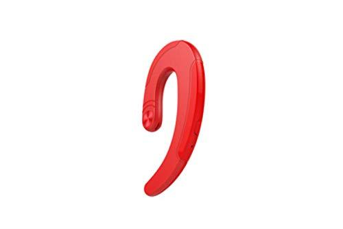 LLDKA Auriculares Bluetooth Solo Gancho de Oreja Auriculares inalámbricos verdadera Auricular de Radio con el Ruido del micrófono,Rojo