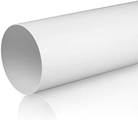 Swettews 100 mm 125 mm 150 mm Rundrohrsystem PVC Lüftungsrohr Flexschaluch Bindeglieder Bogen Kniestück Verbinder Rückstauklappe T-Stück Reduktion Halter Adapter (Ø 100, Lüftungsrohr 1,0m)
