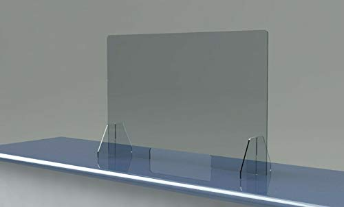 SNEEZE GUARD Plastic PROTECTION Barrier SHIELD Table Desk CHECKOUT COUNTER Store (48' Wide x 30' Tall w/ 14' x 8' Cutout)