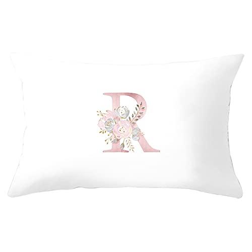 Agoble Cojin Exterior, Funda Almohada Hipoalergenica Poliéster 1 30X50cm Funda Cojin Blanco Flor Color De Rosa 12 Letra R