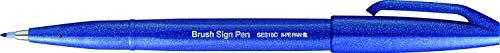 Pentel SES15C-C - Brush Sign Pen Faserschreiber, 10 Stück, blau