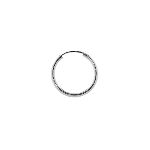 NKlaus Einzel 585er 14 Karat Gold weißgold Creole 16mm Ohrring 1,8mm Stärke Ohrschmuck rund 2566