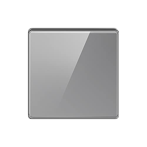 Yoaodpei Panel de interruptores de Textura de Vidrio Gris 10A-250V Panel Grande sin Marco Espejo acrílico Sala de Estar Interruptor de Dormitorio 86 Interruptor basculante Oculto