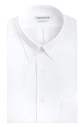 "Van Heusen Men's Pinpoint Regular Fit Solid Button Down Collar Dress Shirt, White, 16.5"" Neck 32""-33"" Sleeve"