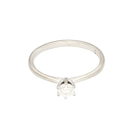 Anillo solitario de oro blanco de 18 quilates de 0,25 quilates (tamaño L), cabeza de 4 mm, anillo de lujo para mujer