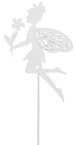 Dio Garten-Stecker Deko-Stecker Elfe Metall weiß lackiert Preis für 2 Stck.