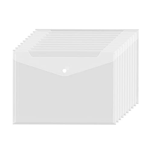 MOPOIN Dokumententasche A4, 20 Stück Dokumententasche mit Druckknopf Dokumentenmappe Transparent Mappen zum Abheften für Dokument Organisieren