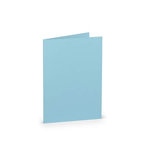 PAPERADO 25 Faltkarte DIN A6 Aqua gerippt - Doppelkarte vorgefaltet 220 g/m² - 210 x 148 mm - Klappkarten Basteln Einladungskarten Hochzeit Kommunion