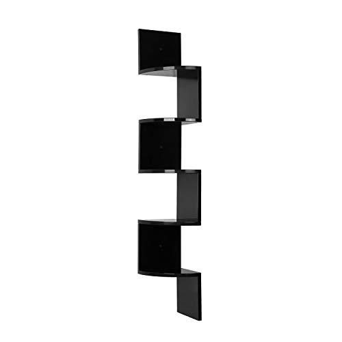 Homfa Mensola da Muro di 5 Ripiani, Scaffale Libri Angolare a Parete Carico 15KG Nero 20 × 20 × 123cm