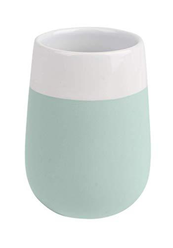 Wenko Malta Vaso para Cepillos De Dientes, Cerámica, Verde Menta, 8x8x11 cm