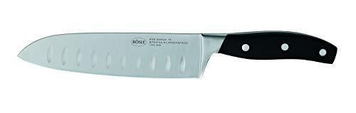 RÖSLE Cuisine Santokumesser, gehärteter Klingen-Spezialstahl, schwarz, Klingenlänge 17,5 cm