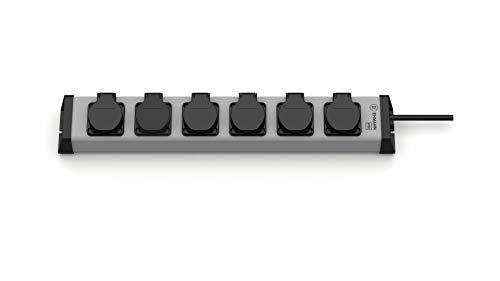EHMANN 0200x08062301 Regleta con tapa abatible, 6 enchufes, cable de alimentación de 1,5 m, IP20