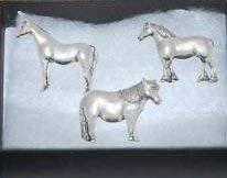 Geschenkverpackung Set mit 3 Zinn Pin Badges-Horse Arabische, Shetland Pony, Schwer Pferd