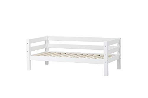 Hoppekids Premium Juniorbett mit das Nordischen Umweltzeichen Kinder-/Jugend-/Einzelbett, Kiefer massiv inklusiv Lattenrost, Holz, Weiß, 169 x 79 x 62 cm