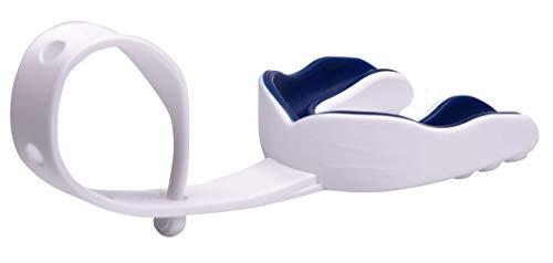 Oral Mart (Weiß/Marineblau Sport Mundschutz mit Gurt für American Football, Eishockey, Lacrosse für Erwachsene