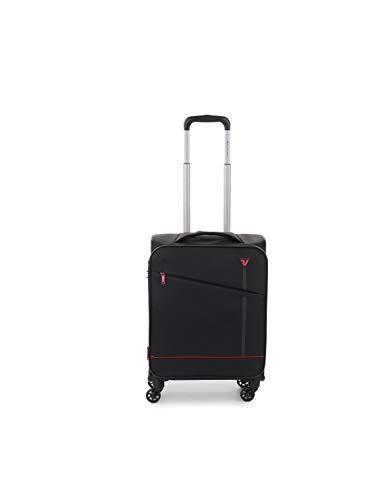 Roncato Jazz trolley bagaglio a mano espandibile nero, perfetto per voli low cost, Misura: 55x40x20/23 cm, 40/46 Litri, 2.2 Kg, 4 ruote
