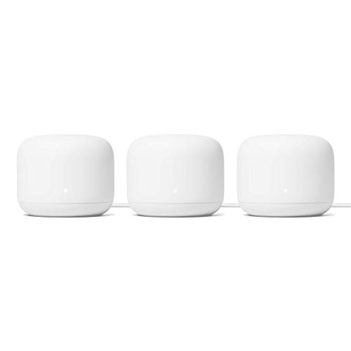 Google Nest WiFi Router 3 Pack - 2nd Generation 4x4 AC2200 Mesh Wi-Fi Routers with 6600 Sq Ft Coverage (Renewed) ( One Router & Two extenders)