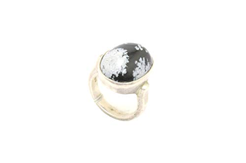 Rajasthan gems Sterling silver 925 Women's ring grey black cabochon Agate stone size P