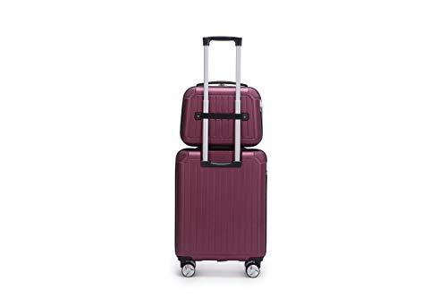 LYS - Set de 2 Valise Cabine 55cm Rigide 8 Roues avec Vanity Case 35cm Ensemble 2 Pièces (Rose...