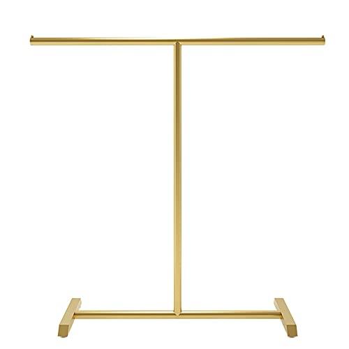 Rieles de ropa pesada, estantes de exhibición de ropa, percheros de dormitorio de metal minimalista moderno, tendederos de secado de tuberías industriales/dorado / 100×130cm