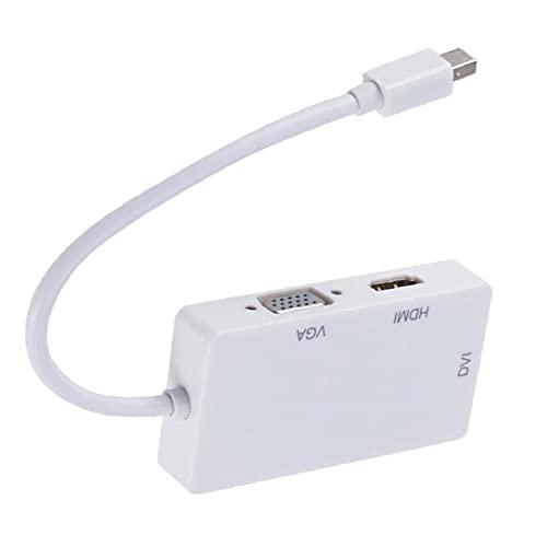 RRunzfon Mini Adaptador de Puerto de Pantalla, 3 en 1 DP a HD DVI VGA Video Converter, White