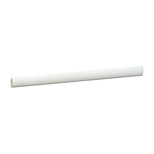KGM Viertelstab weiß lackiert | Dreieck Leiste 14mm ✓Bastelleiste ✓Abschlussleiste ✓Deckenleiste ✓Echtholz Massiv | Kiefer Holz Leiste weiß | Deckenabschlussleiste 2,4m | Viertelstab 14mm