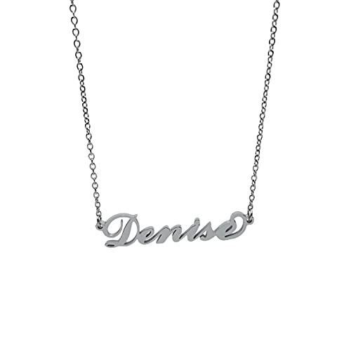 Collana in acciaio con il nome per donna regolabile colore argento anallergica girocollo regolabile (Denise)
