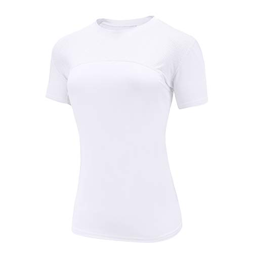 HIBETY Women's Workout Shirts Yoga Athletic Shirts Gym Running Top Dry Fit Compression Shirts Short Sleeve (White-S)