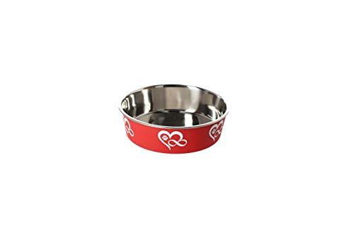 Dingo 14487 - Ciotola per cani, in acciaio INOX, antiscivolo, 0,75 l, 17 cm, colore: Rosso