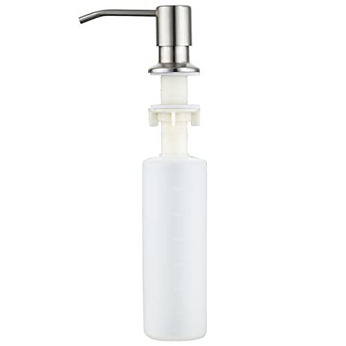 Soap Dispenser for Kitchen Sink, Sink Soap Dispenser Brushed Nickel Stainless Steel Refill from The Top Built in Sink Soap Dispenser with 13 OZ Soap Bottle